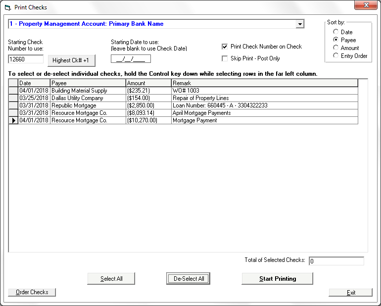Print Checks in Tenant File