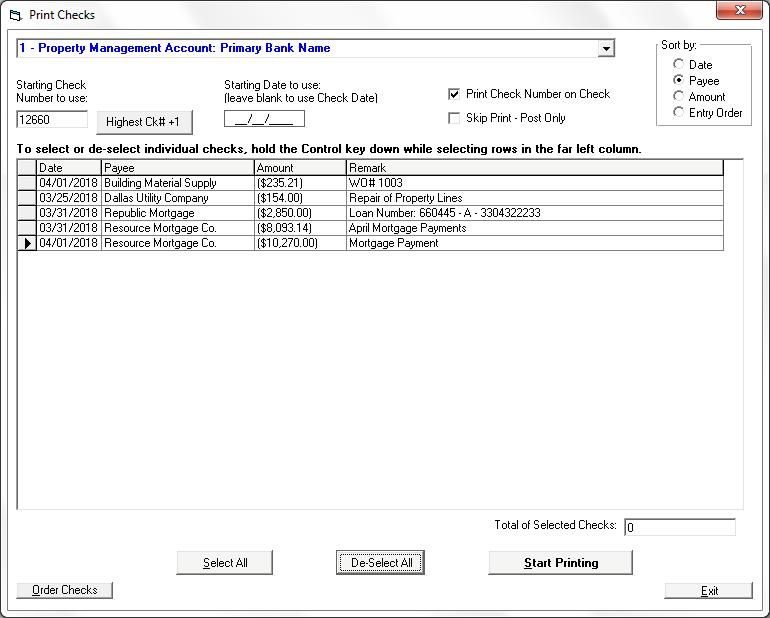Print Checks in Tenant File